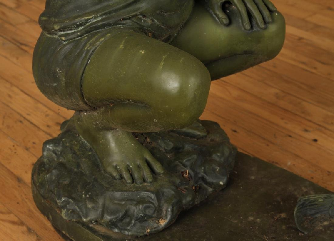 BRONZE FOUNTAIN OF BOY HOLDING FROG - 4