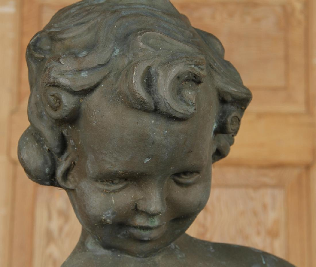 BRONZE FOUNTAIN FIGURE YOUNG GIRL HOLDING SHELL - 2