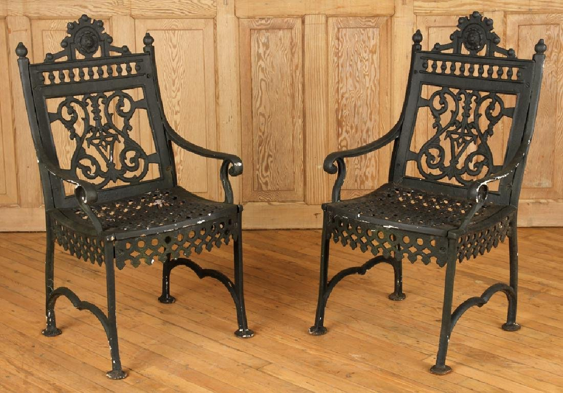 PAIR CAST IRON VICTORIAN OPEN ARM CHAIRS C.1880