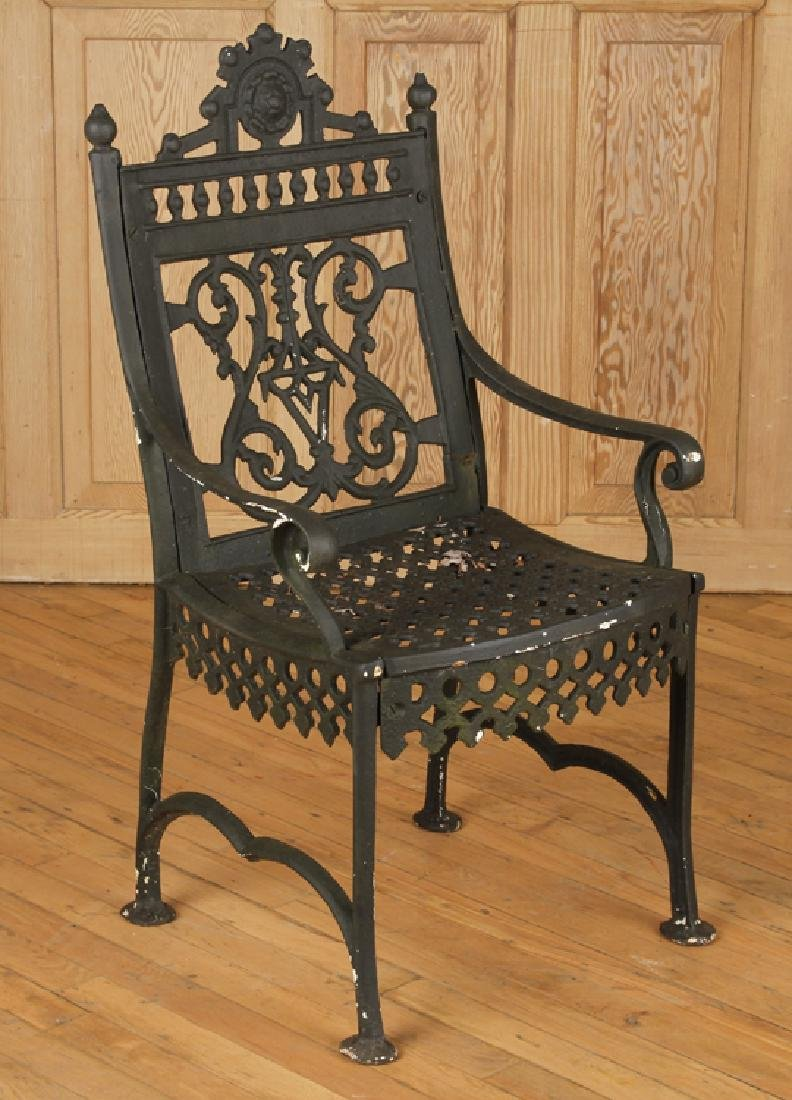 PAIR CAST IRON VICTORIAN OPEN ARM CHAIRS C.1880 - 2