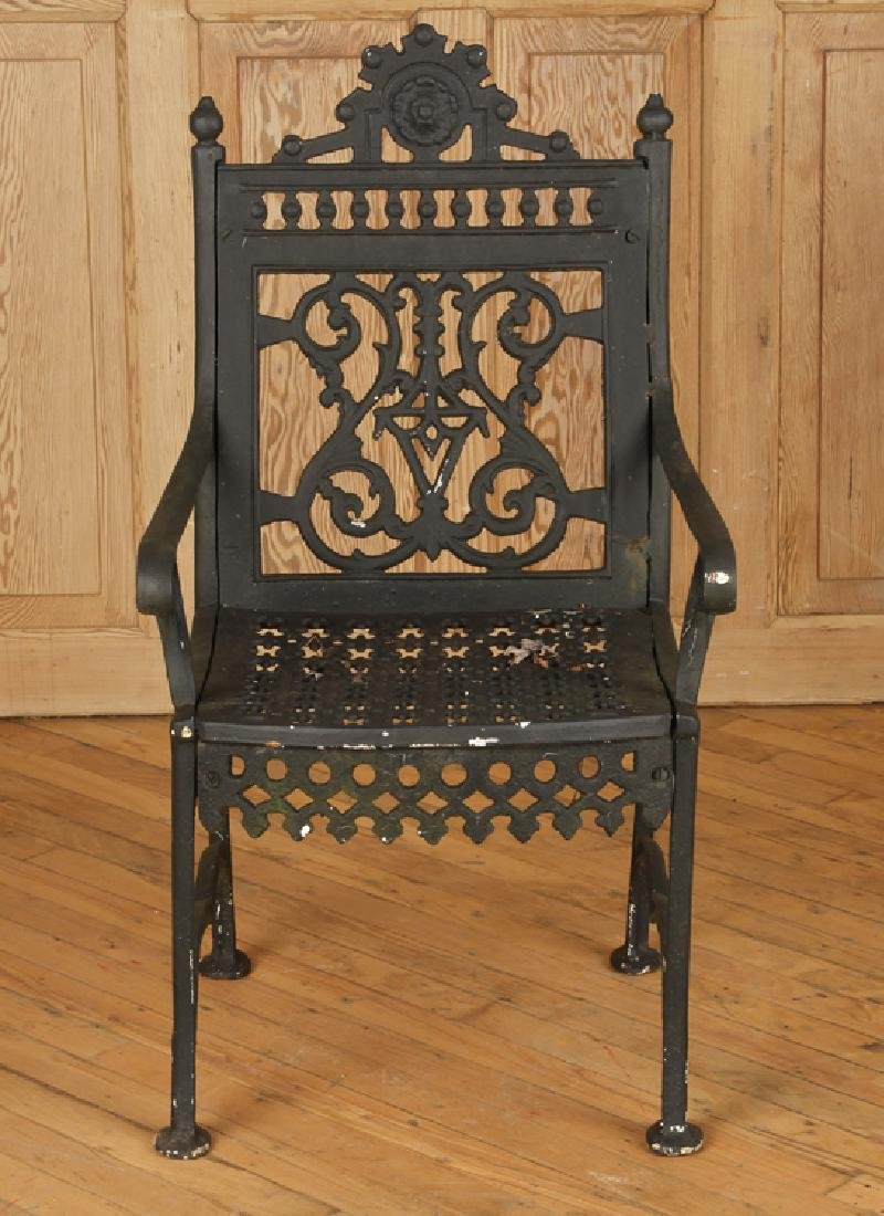 PAIR CAST IRON VICTORIAN OPEN ARM CHAIRS C.1880 - 3
