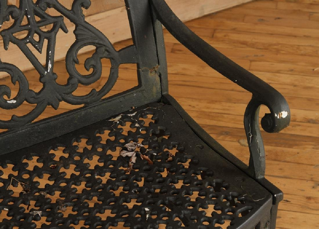 PAIR CAST IRON VICTORIAN OPEN ARM CHAIRS C.1880 - 5