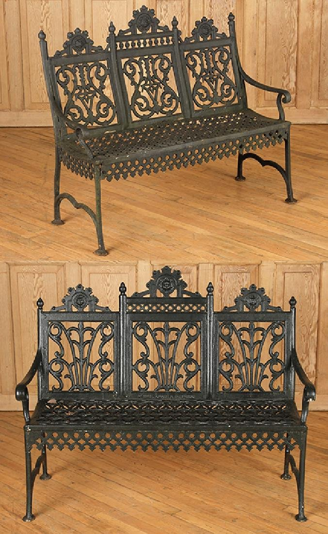 PAIR CAST IRON VICTORIAN OPEN ARM BENCHES C.1880