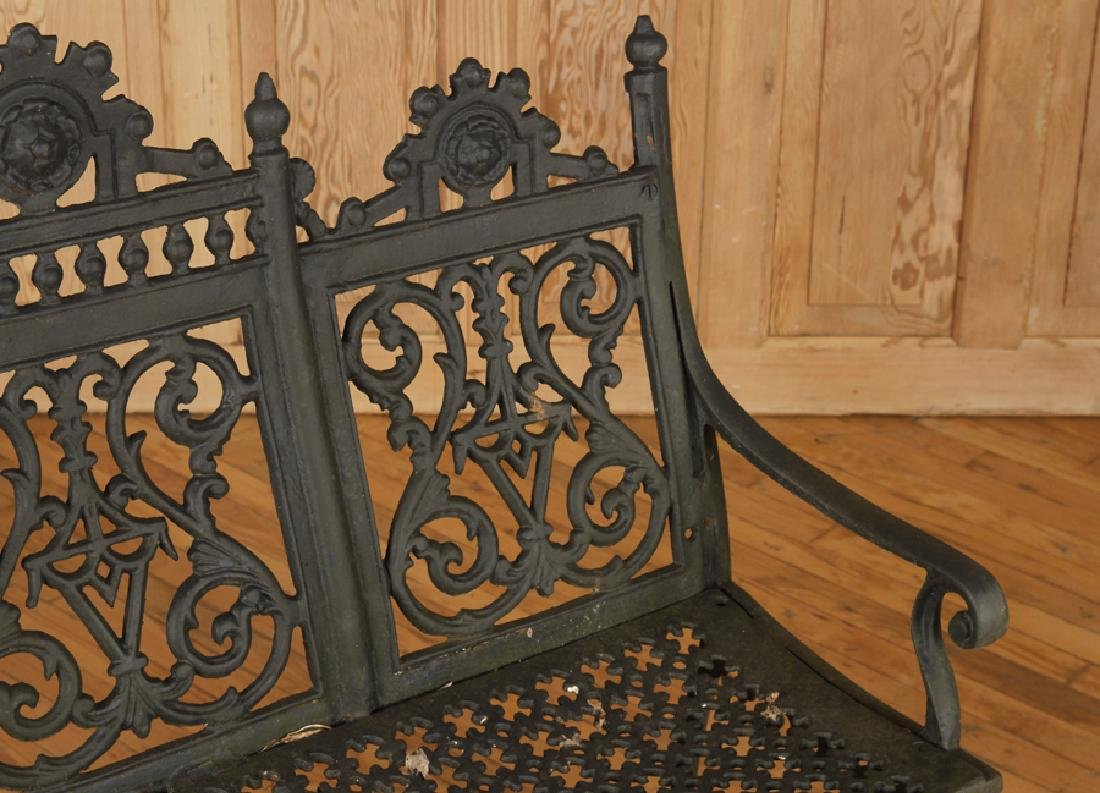 PAIR CAST IRON VICTORIAN OPEN ARM BENCHES C.1880 - 4