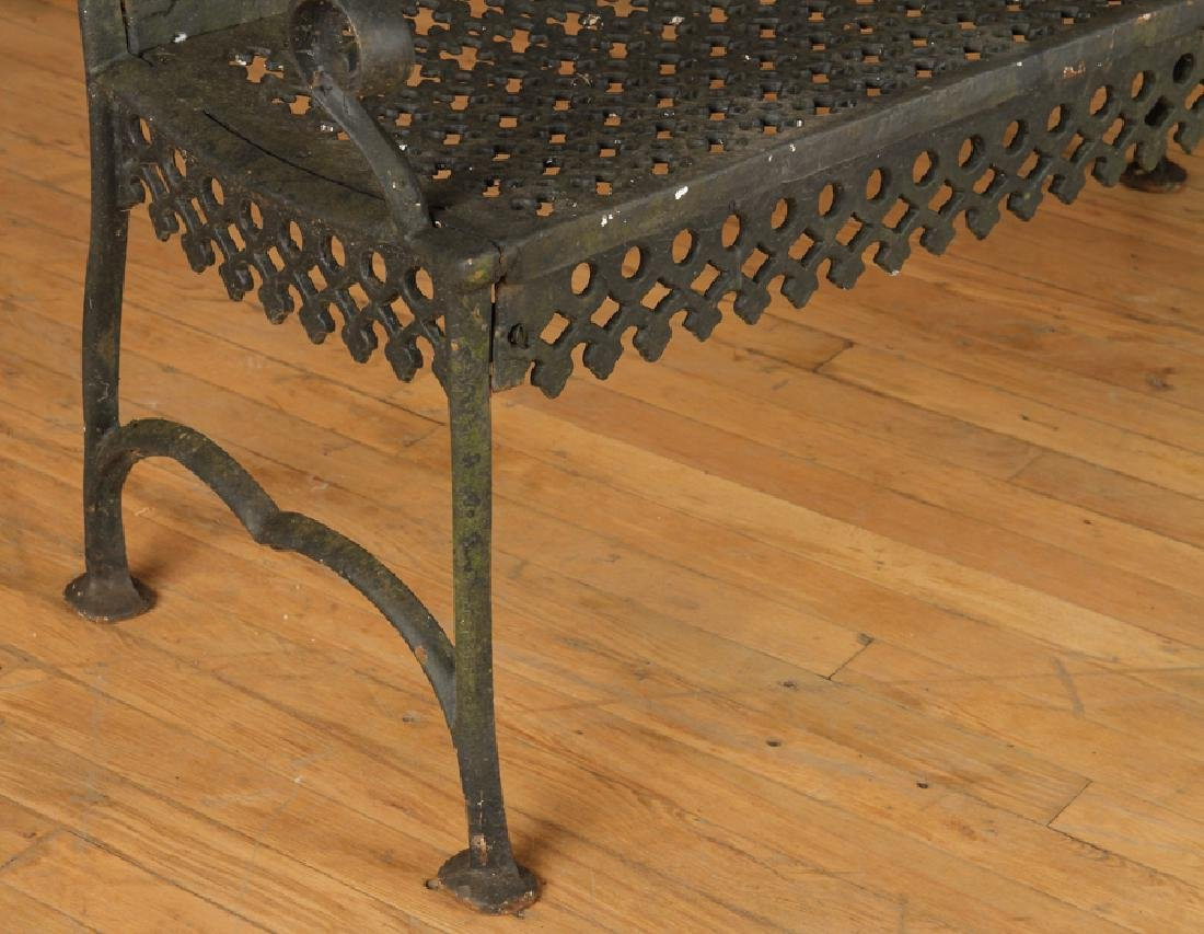 PAIR CAST IRON VICTORIAN OPEN ARM BENCHES C.1880 - 5
