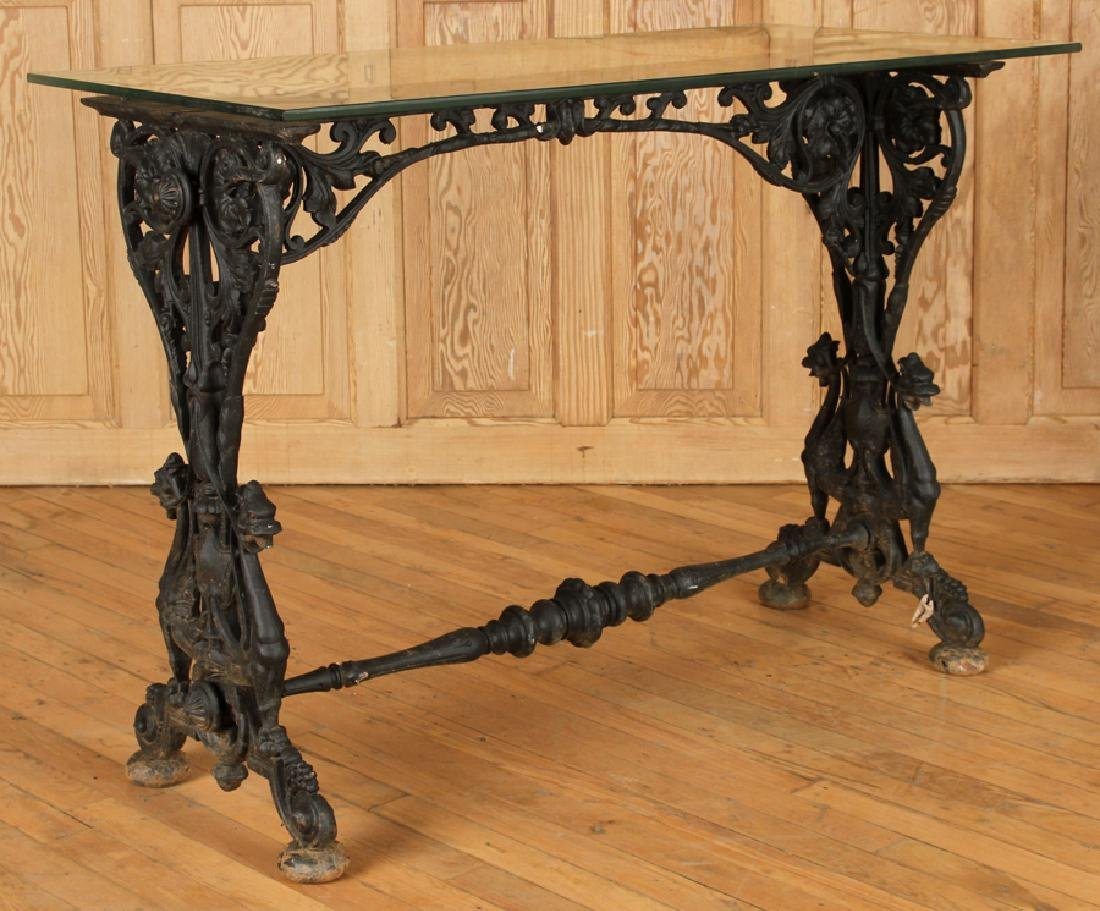 GLASS TOP CAST IRON CONSOLE TABLE C.1870