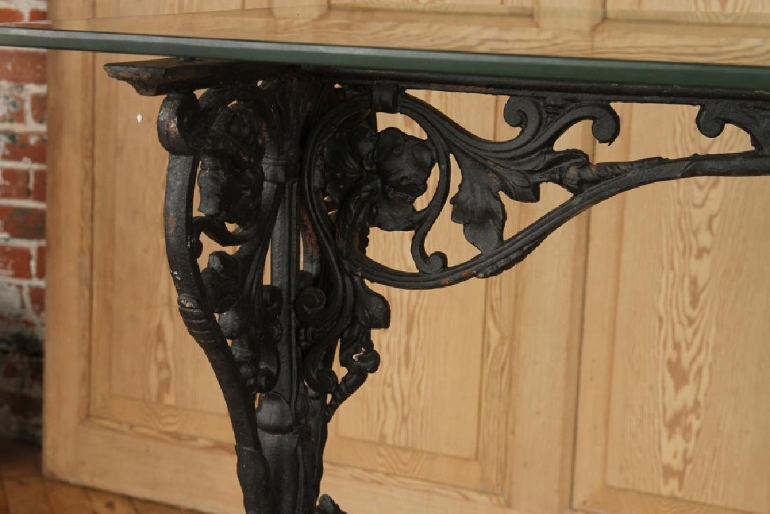 GLASS TOP CAST IRON CONSOLE TABLE C.1870 - 3