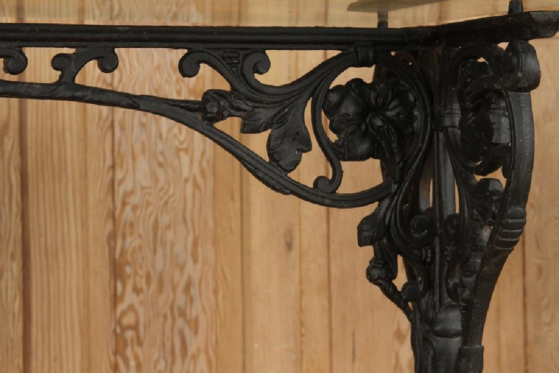 GLASS TOP CAST IRON CONSOLE TABLE C.1870 - 4