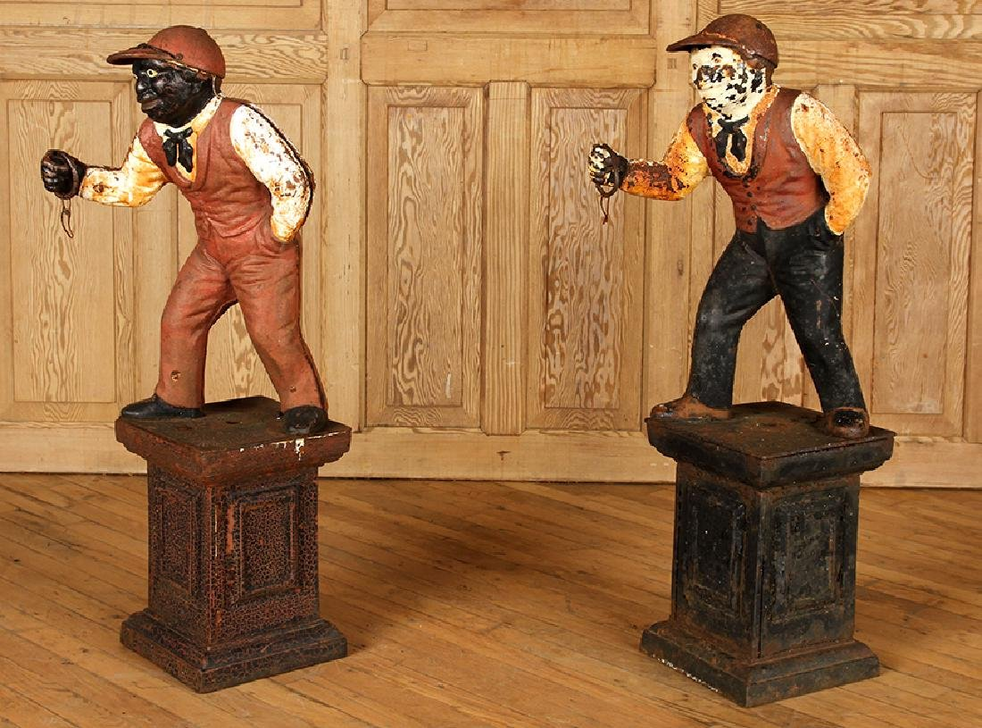 PAIR PAINTED CAST IRON LAWN JOCKEYS CIRCA 1900