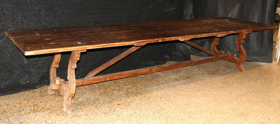 LARGE 19TH CENT. RUSTIC FARM TABLE SIX BOARD TOP