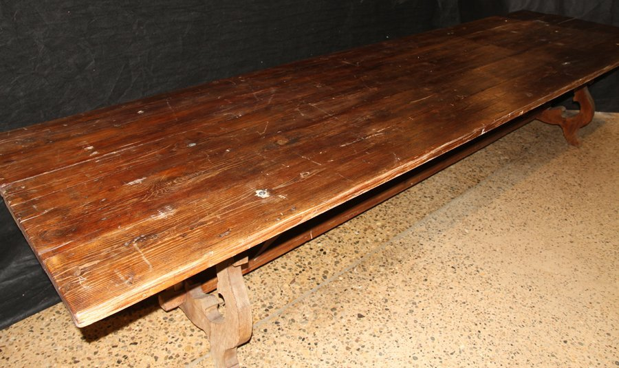 LARGE 19TH CENT. RUSTIC FARM TABLE SIX BOARD TOP - 2