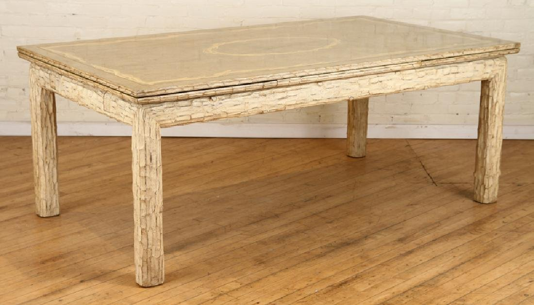 CUSTOM CARVED FAUX BOIS DINING TABLE