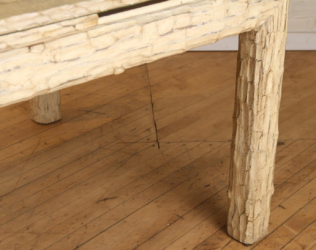 CUSTOM CARVED FAUX BOIS DINING TABLE - 6