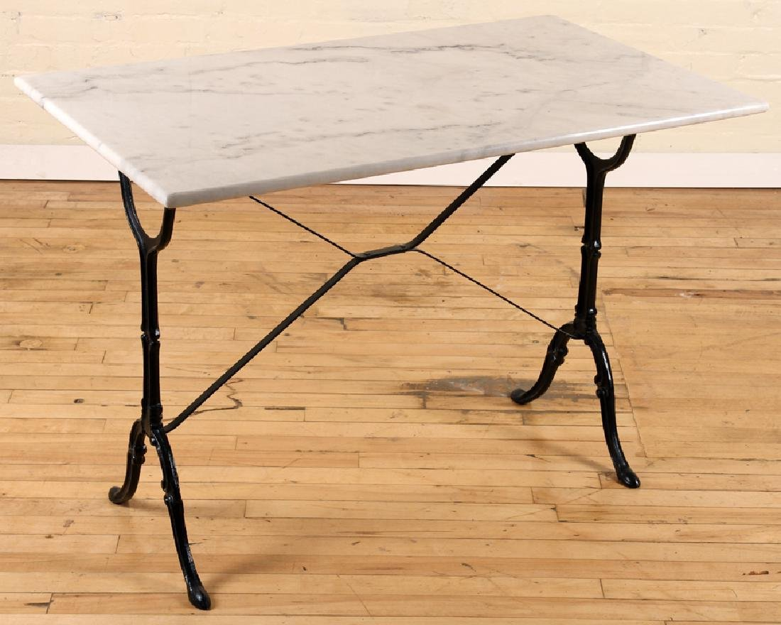 MARBLE TOP BISTRO TABLE IRON FRAME CABRIOLE LEGS