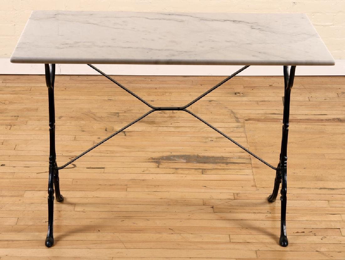 MARBLE TOP BISTRO TABLE IRON FRAME CABRIOLE LEGS - 2