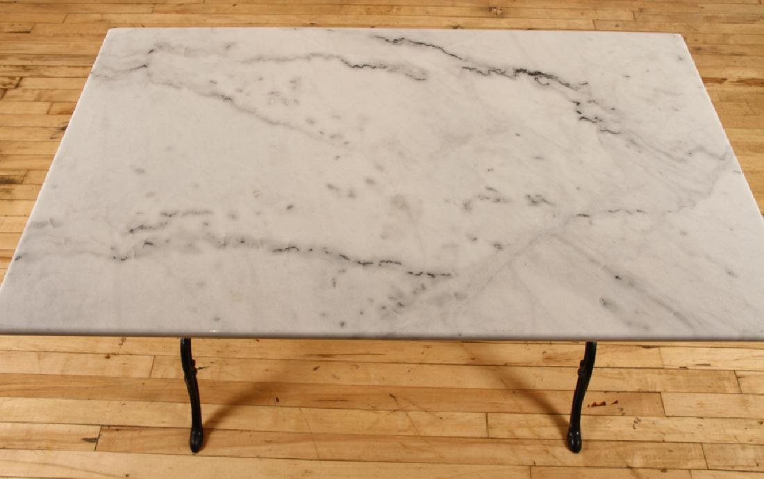 MARBLE TOP BISTRO TABLE IRON FRAME CABRIOLE LEGS - 3