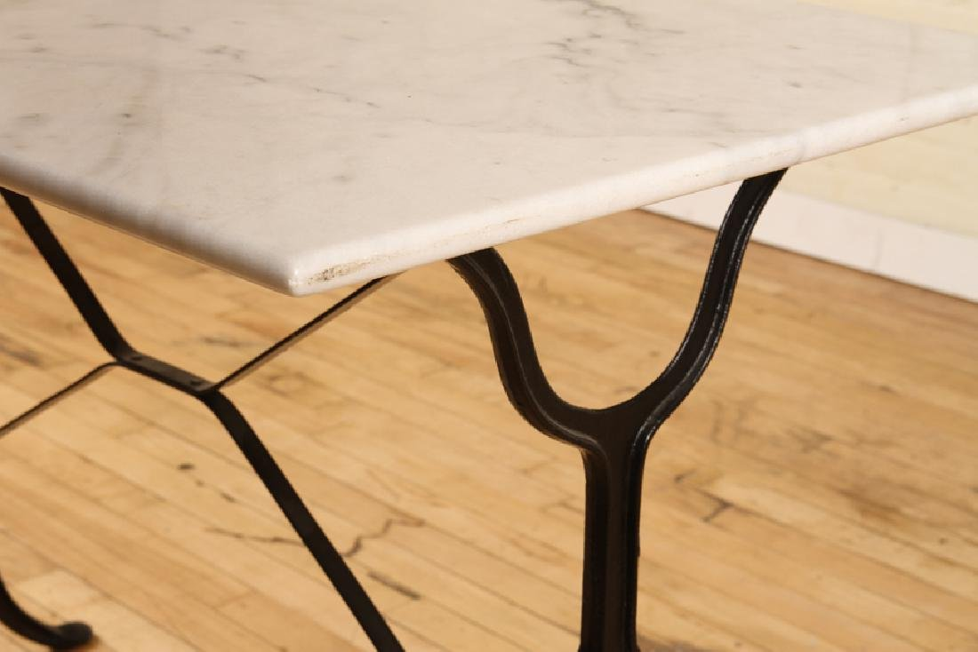 MARBLE TOP BISTRO TABLE IRON FRAME CABRIOLE LEGS - 4