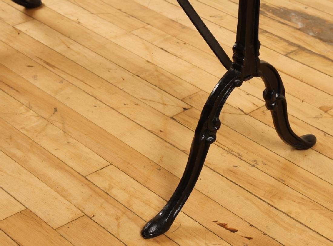 MARBLE TOP BISTRO TABLE IRON FRAME CABRIOLE LEGS - 5