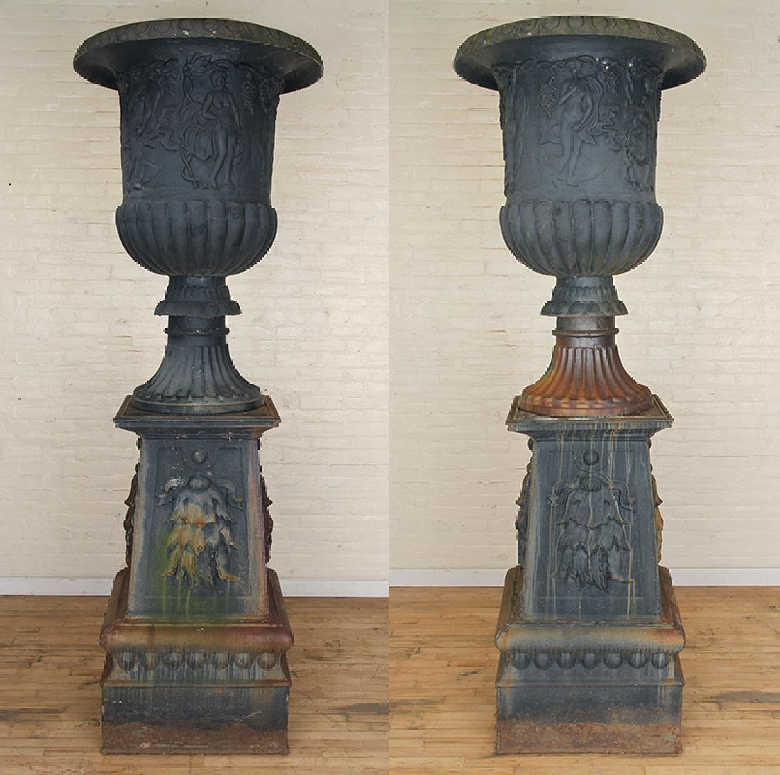 PAIR MONUMENTAL CAST IRON URNS NEOCLASSICAL
