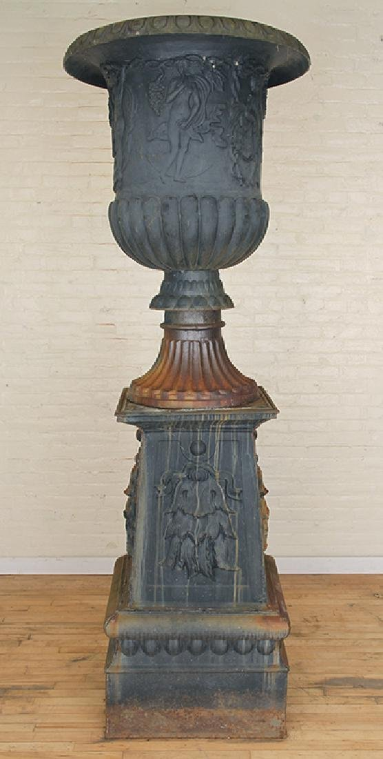 PAIR MONUMENTAL CAST IRON URNS NEOCLASSICAL - 2