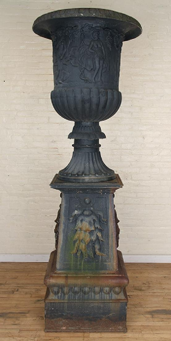 PAIR MONUMENTAL CAST IRON URNS NEOCLASSICAL - 3