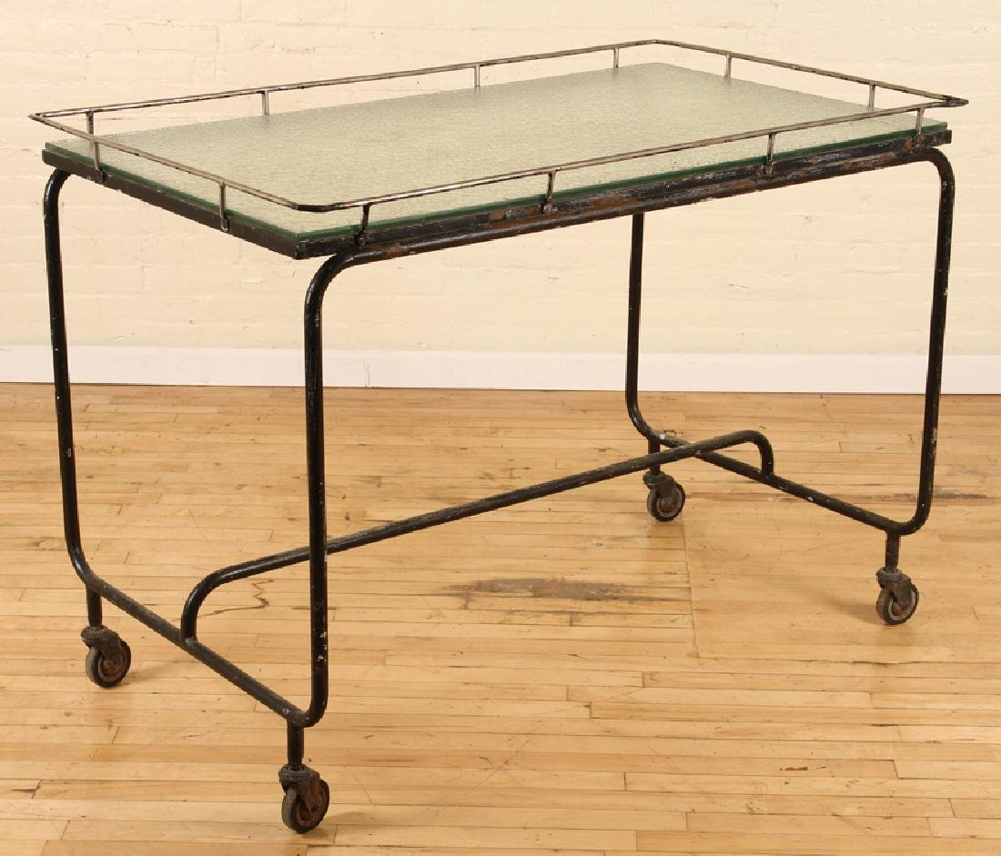 ITALIAN IRON GLASS POTTING TABLE FROSTED GLASS