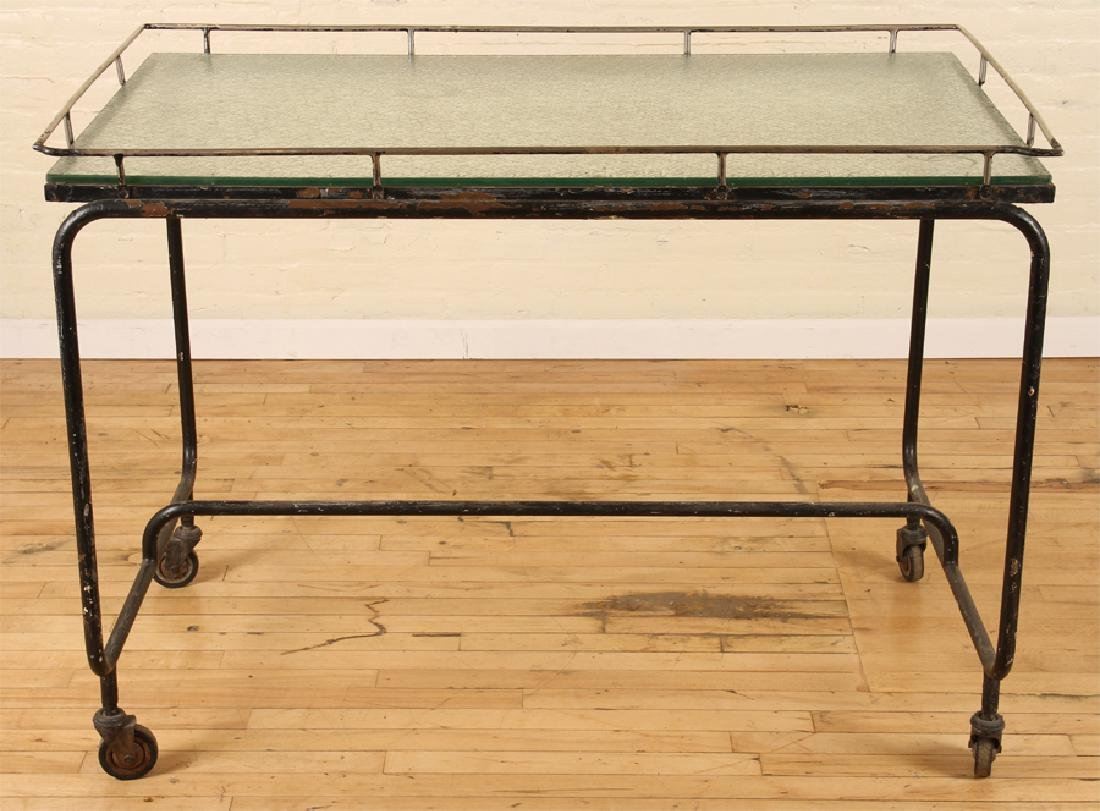 ITALIAN IRON GLASS POTTING TABLE FROSTED GLASS - 2