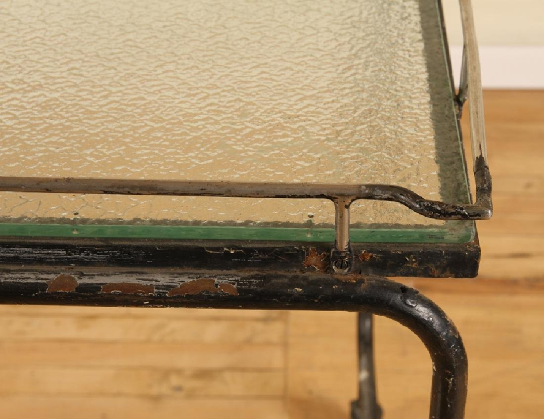 ITALIAN IRON GLASS POTTING TABLE FROSTED GLASS - 4