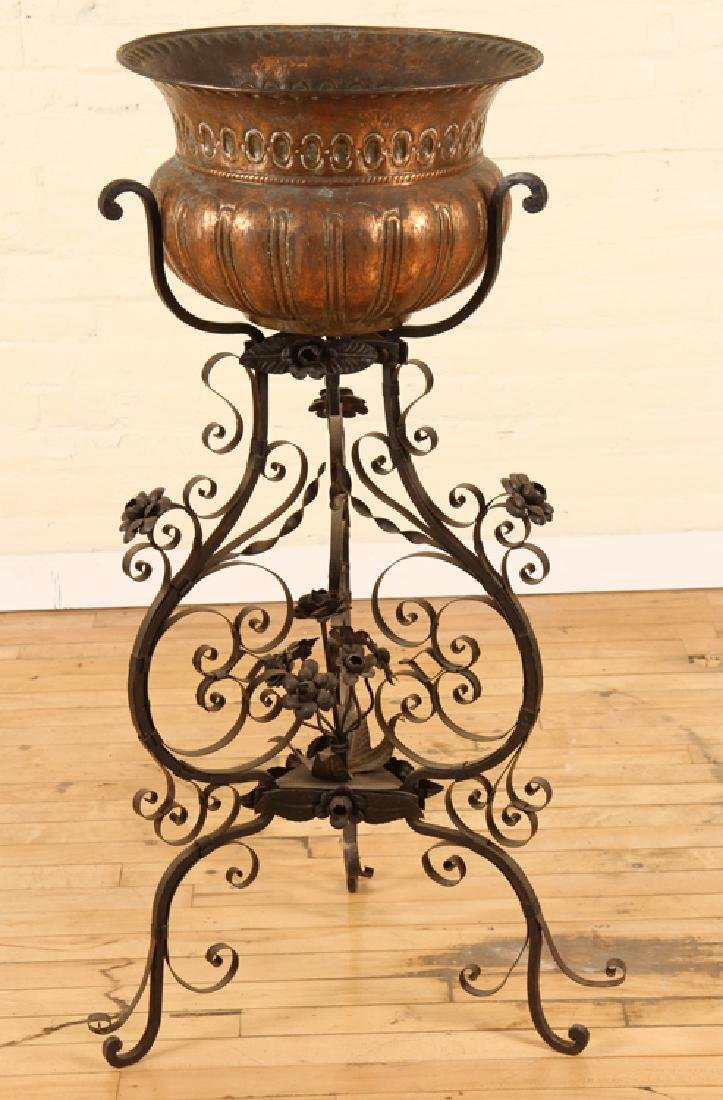 ITALIAN COPPER WROUGHT IRON PLANTER CIRCA 1910