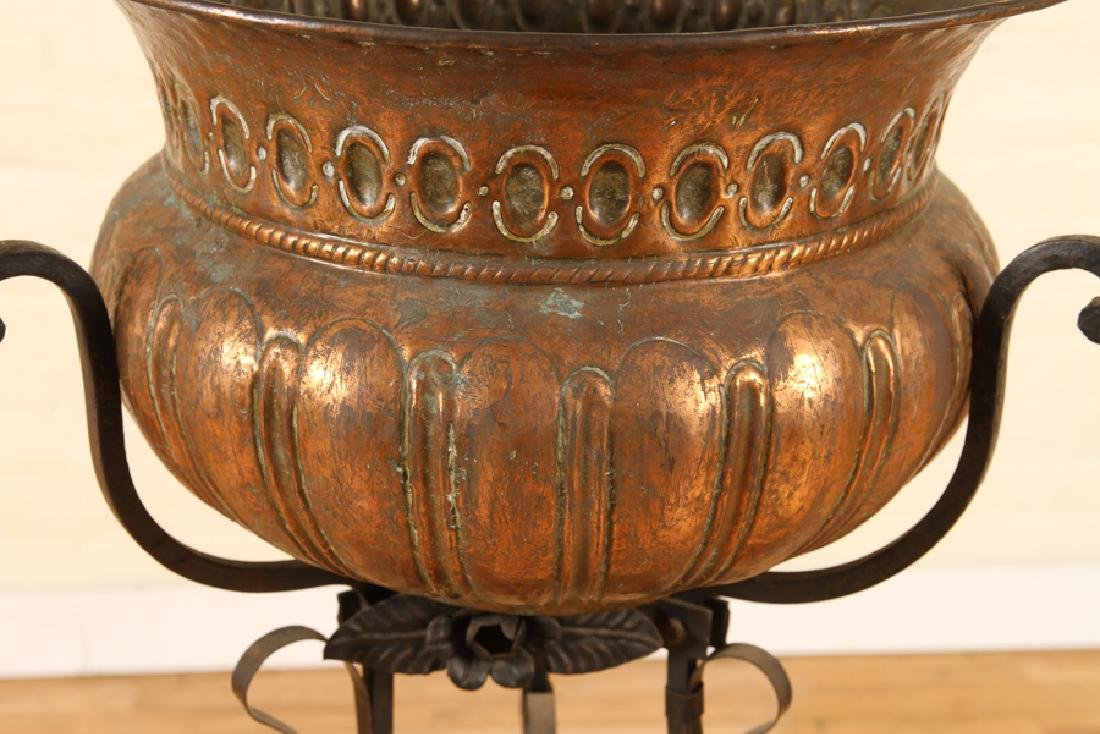 ITALIAN COPPER WROUGHT IRON PLANTER CIRCA 1910 - 3