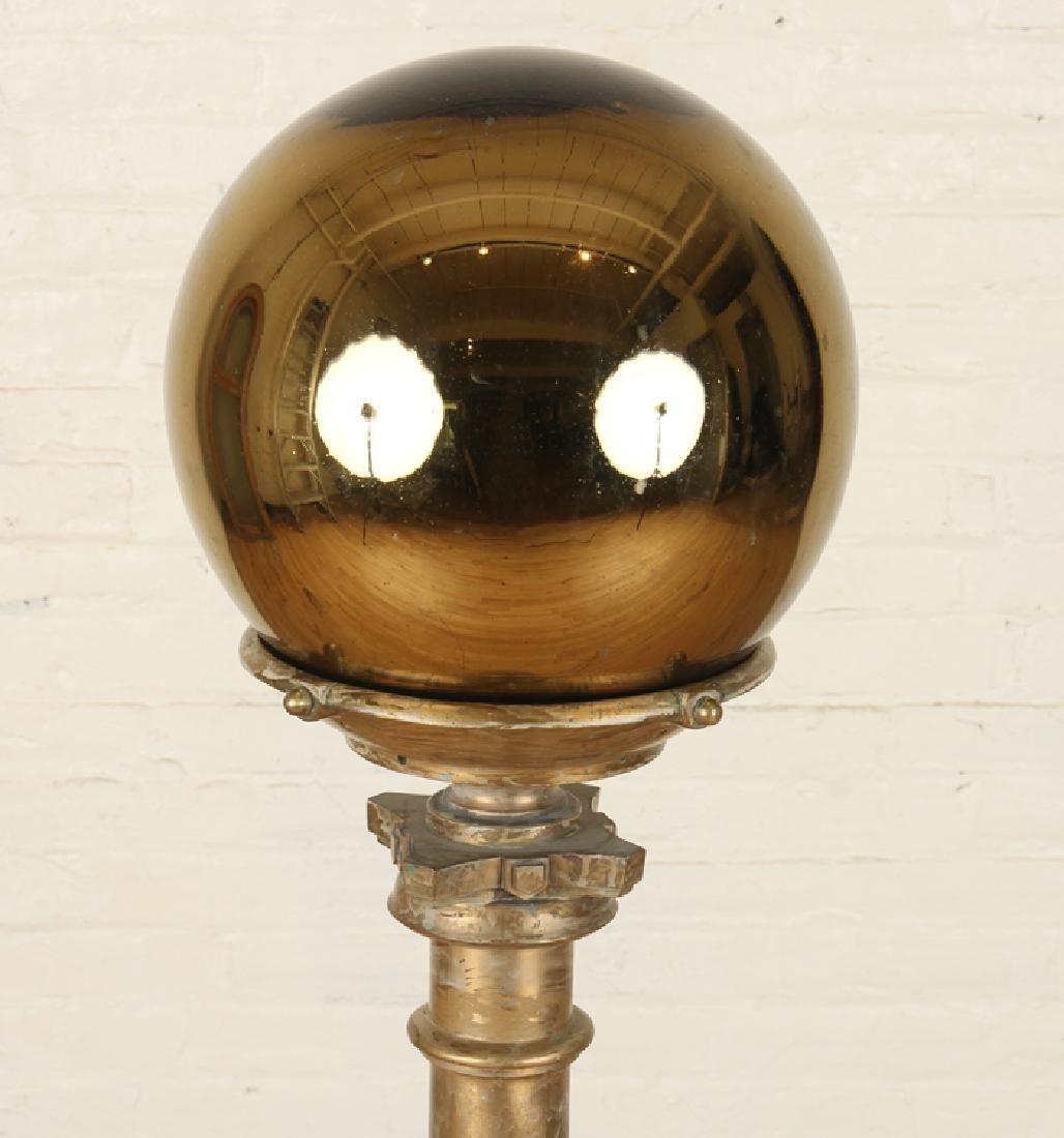 GILT GLASS WITCHING BALL ON GILT BRONZE PEDESTAL - 2