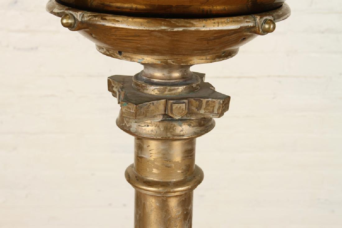 GILT GLASS WITCHING BALL ON GILT BRONZE PEDESTAL - 3