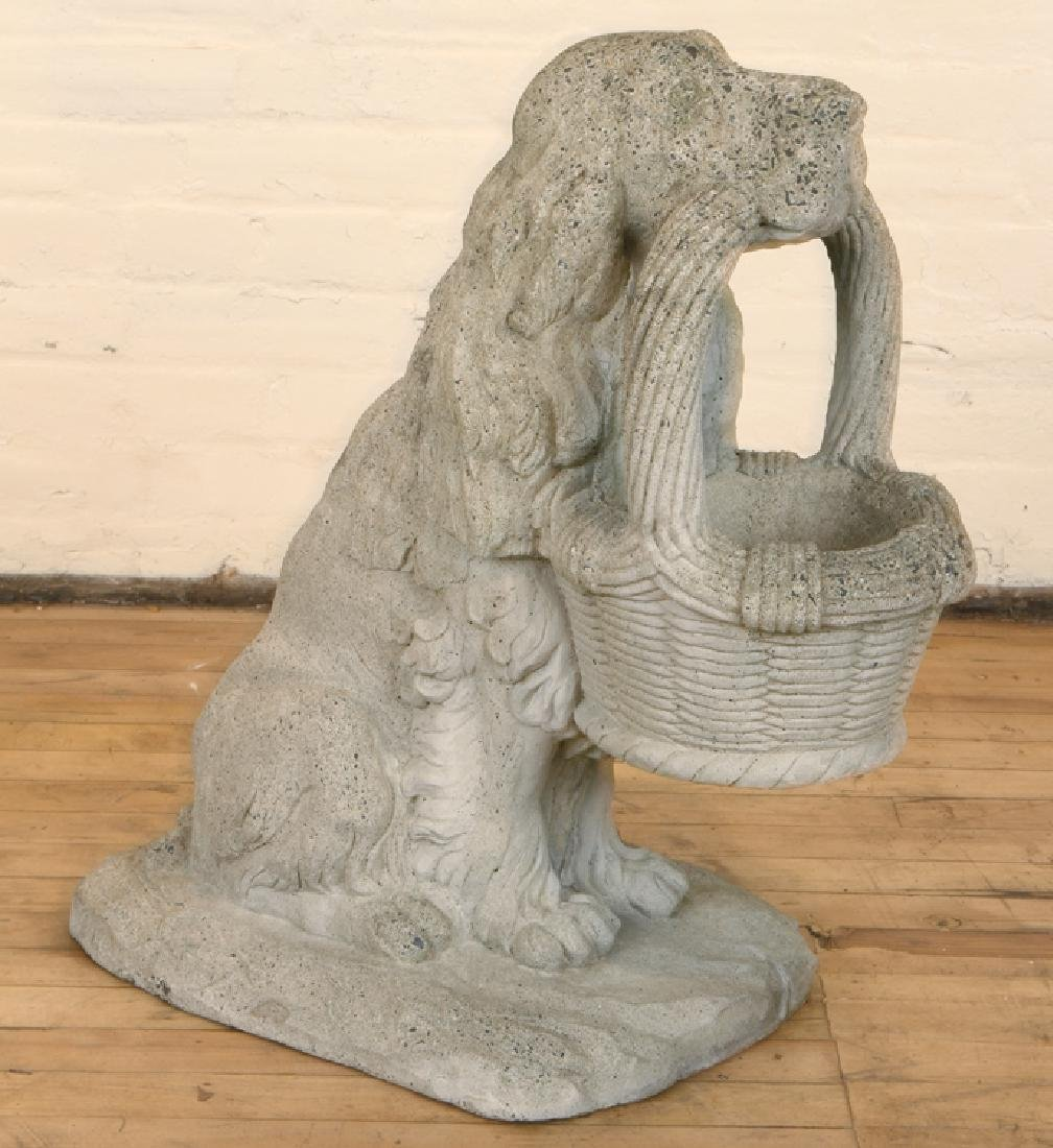 CAST STONE DOG HOLDING BASKET FORM PLANTER