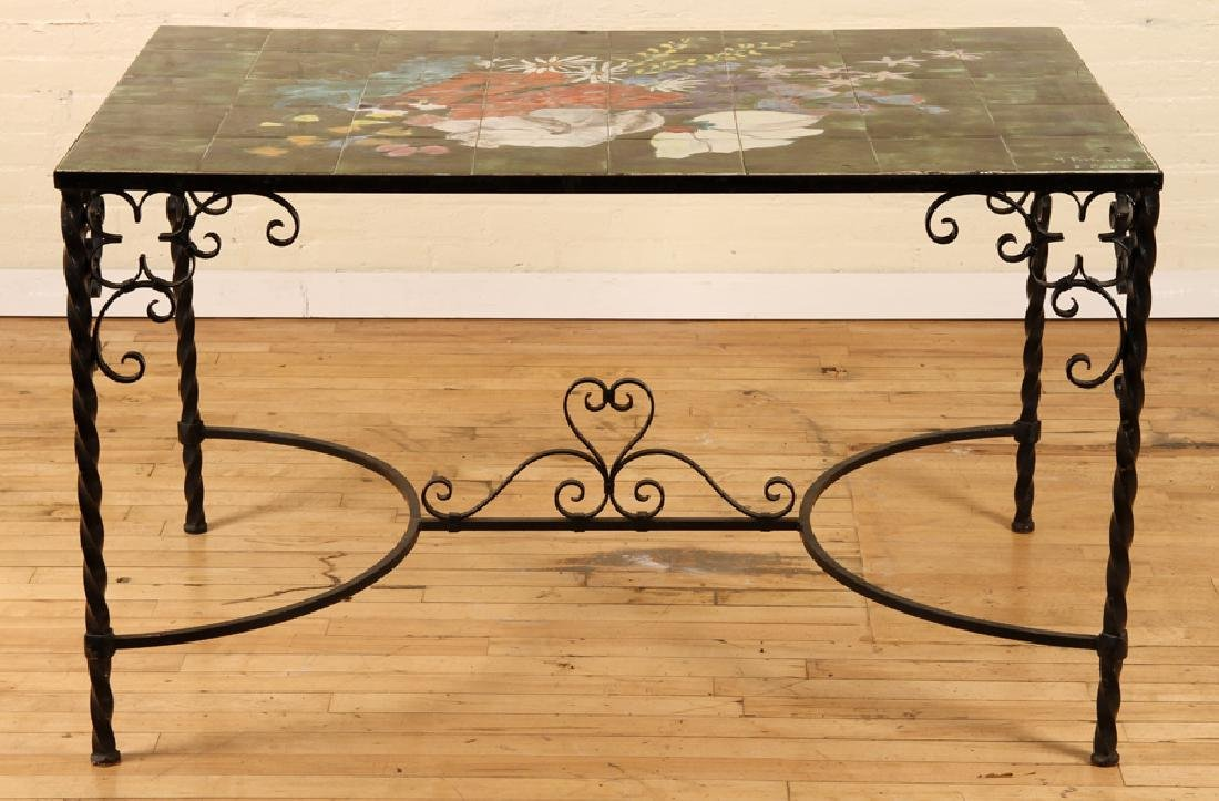 SIGNED FRENCH WROUGHT IRON TILE TOP GARDEN TABLE