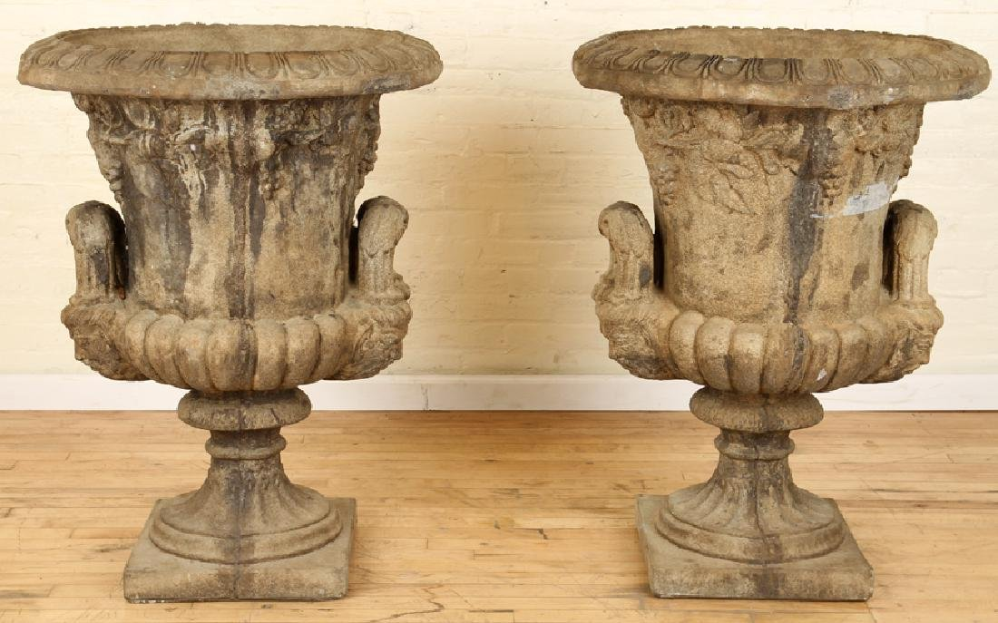 PAIR CAST IRON CAMPAGNA FORM URNS LOOP HANDLES