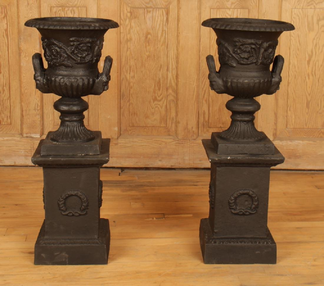 PAIR NEOCLASSICAL CAST IRON PAINTED URNS