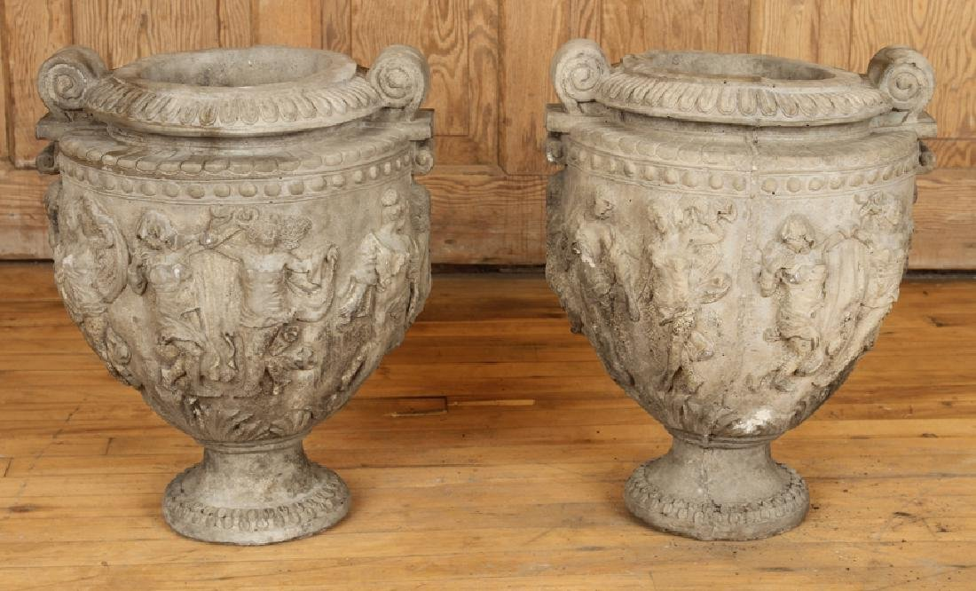 PAIR NEOCLASSICAL STYLE CAST STONE GARDEN URNS