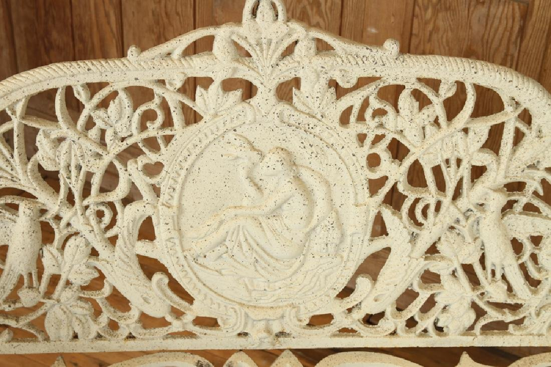 CAST IRON BENCH MAIDEN HOLDING DOVE - 3