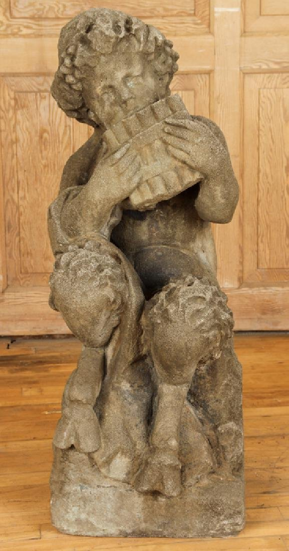 CAST STONE FIGURE OF PAN PLAYING THE FLUTE