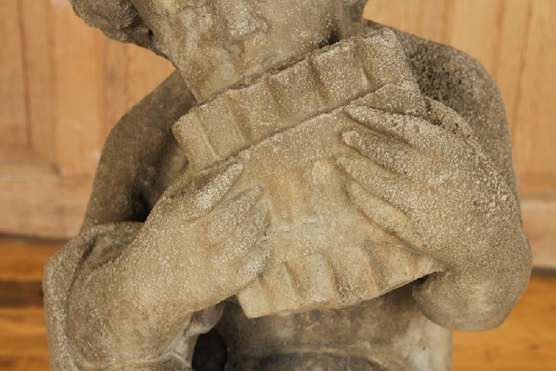 CAST STONE FIGURE OF PAN PLAYING THE FLUTE - 3