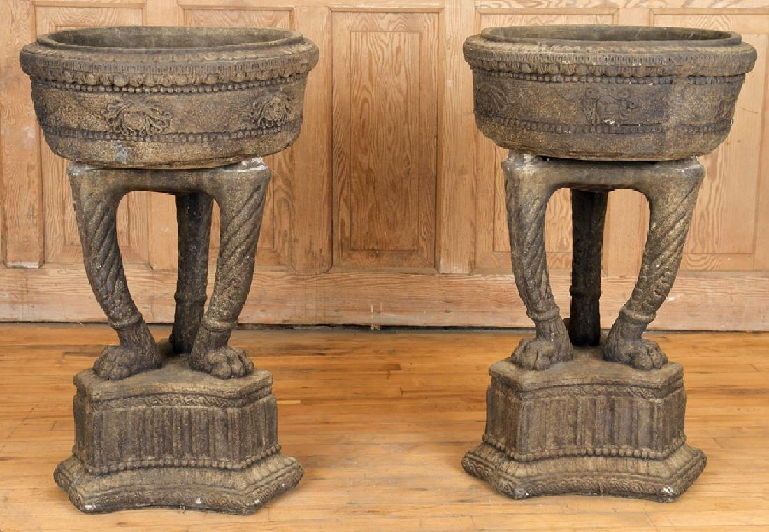 PAIR GRECIAN STYLE CAST STONE TWO PART PLANTERS