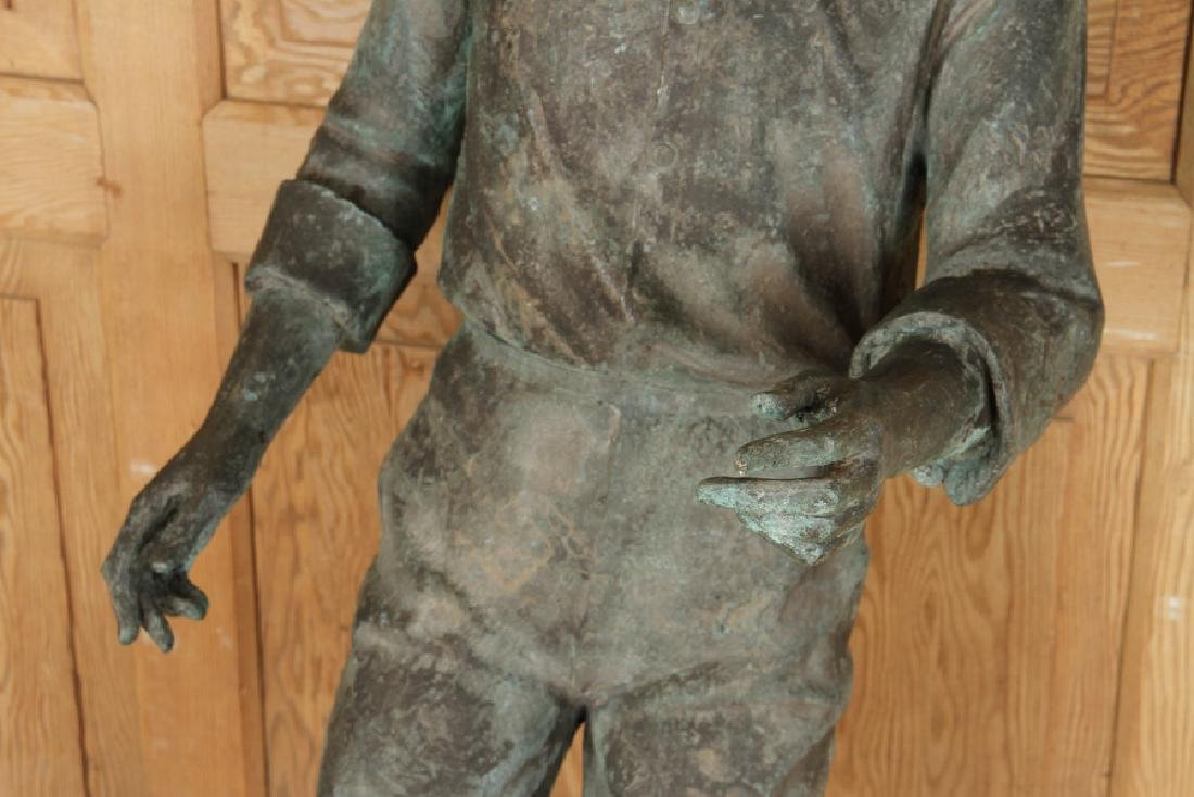 CAST BRONZE FIGURE OF BOY PLAYING SOCCER - 3