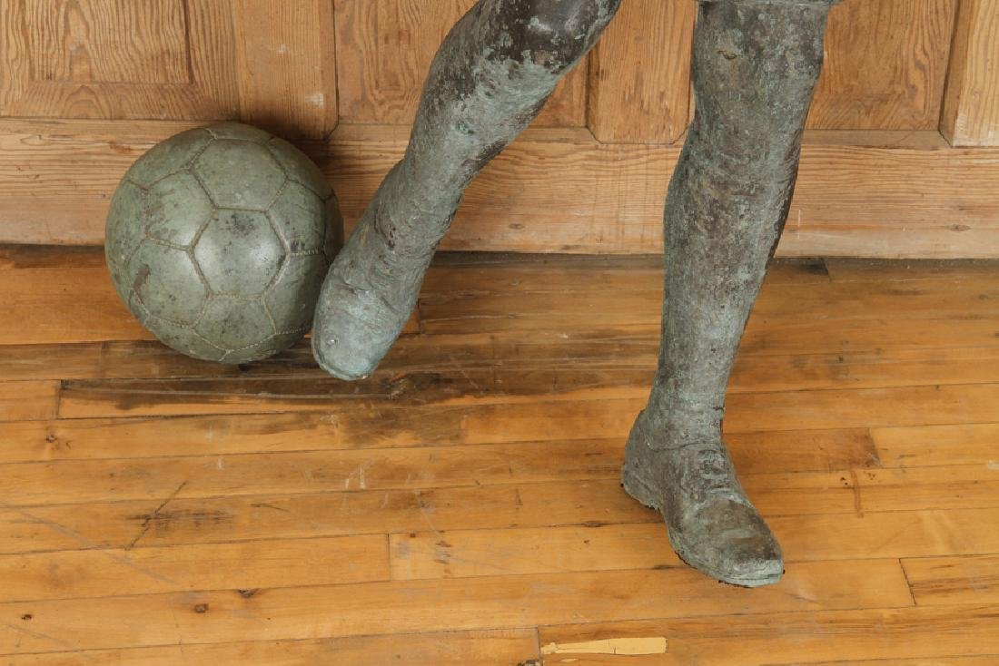 CAST BRONZE FIGURE OF BOY PLAYING SOCCER - 4