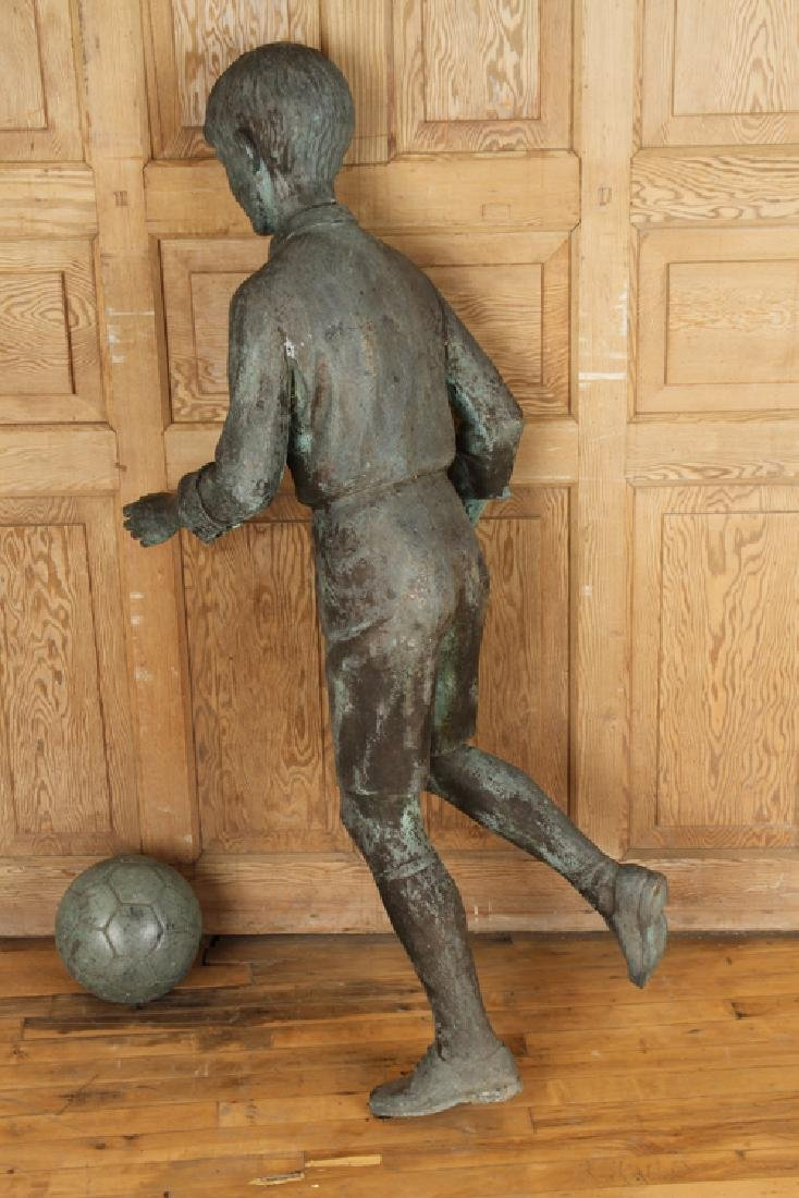CAST BRONZE FIGURE OF BOY PLAYING SOCCER - 5