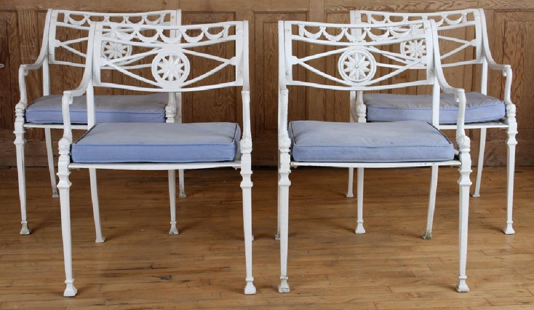 SET 4 NEOCLASSICAL STYLE ALUMINUM PATIO CHAIRS