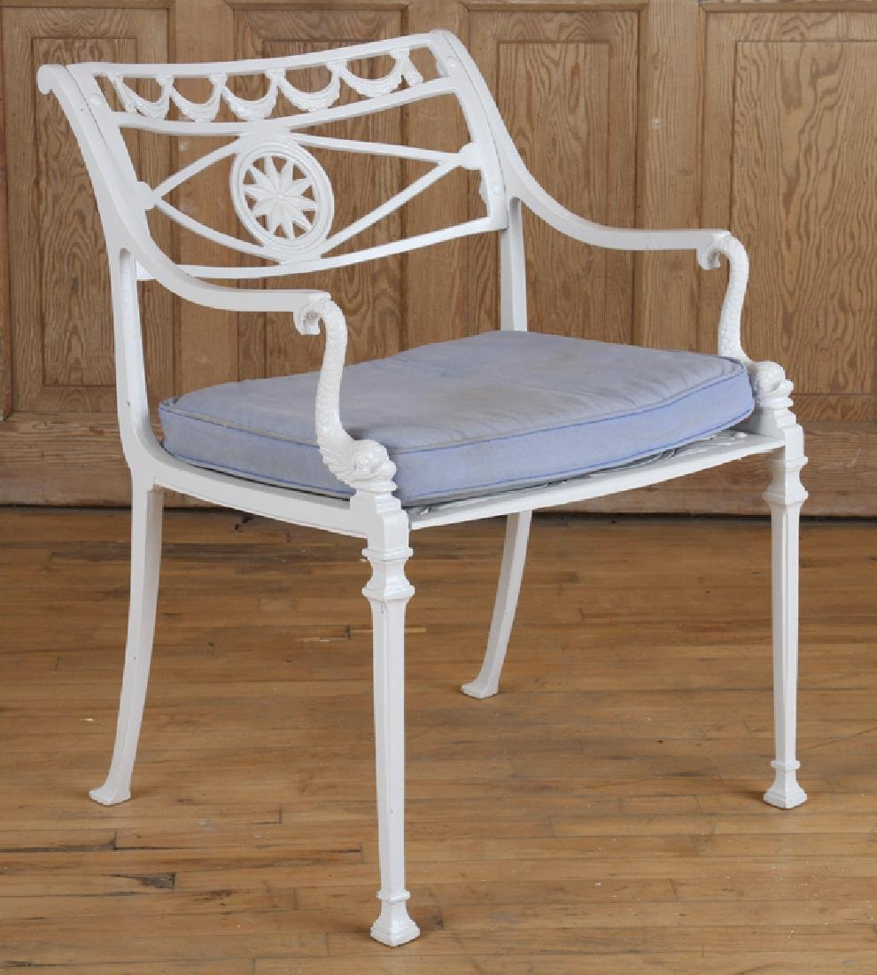 SET 4 NEOCLASSICAL STYLE ALUMINUM PATIO CHAIRS - 2