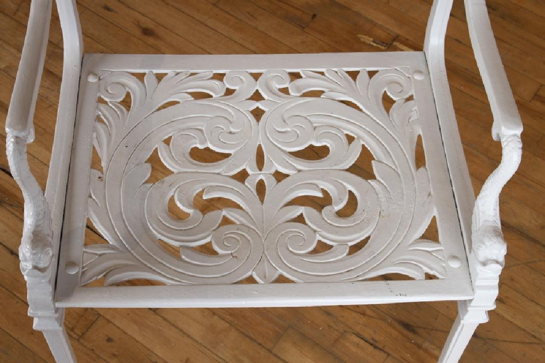 SET 4 NEOCLASSICAL STYLE ALUMINUM PATIO CHAIRS - 5