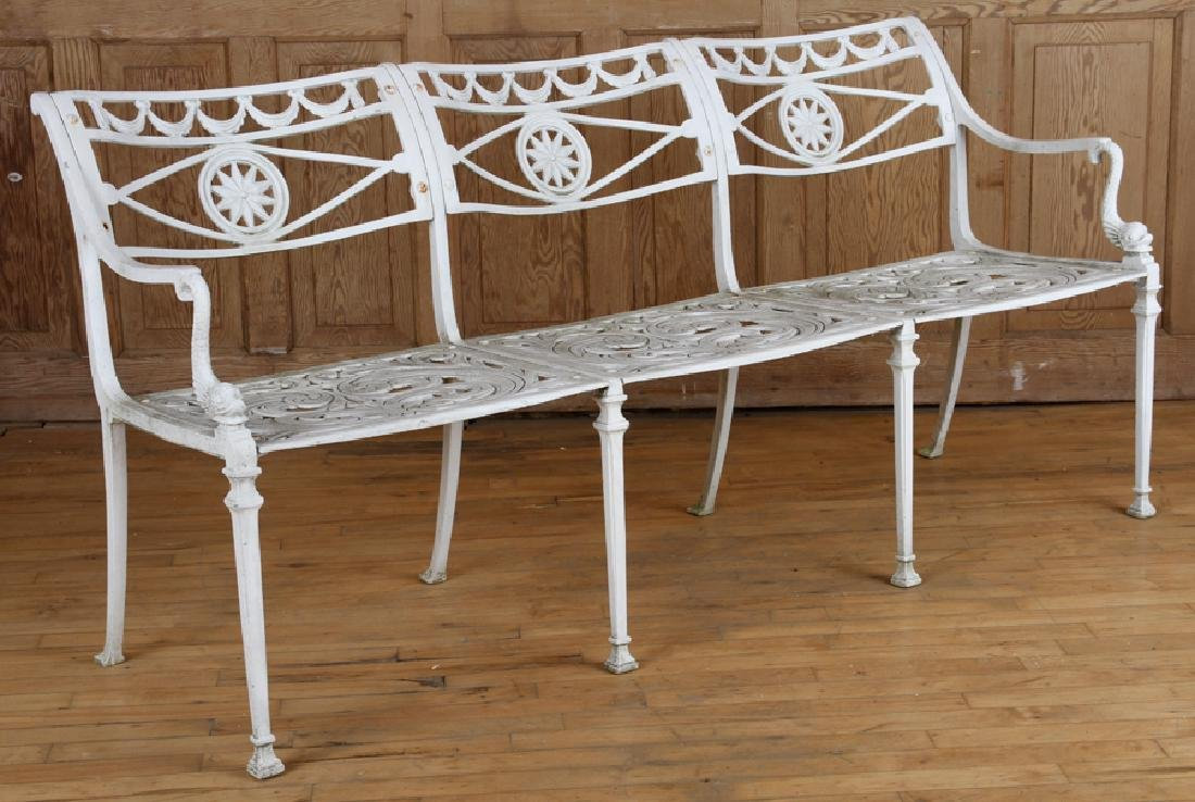 NEOCLASSICAL STYLE ALUMINUM BENCH CIRCA 1950