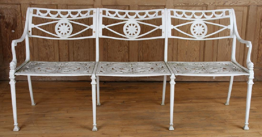 NEOCLASSICAL STYLE ALUMINUM BENCH CIRCA 1950 - 2