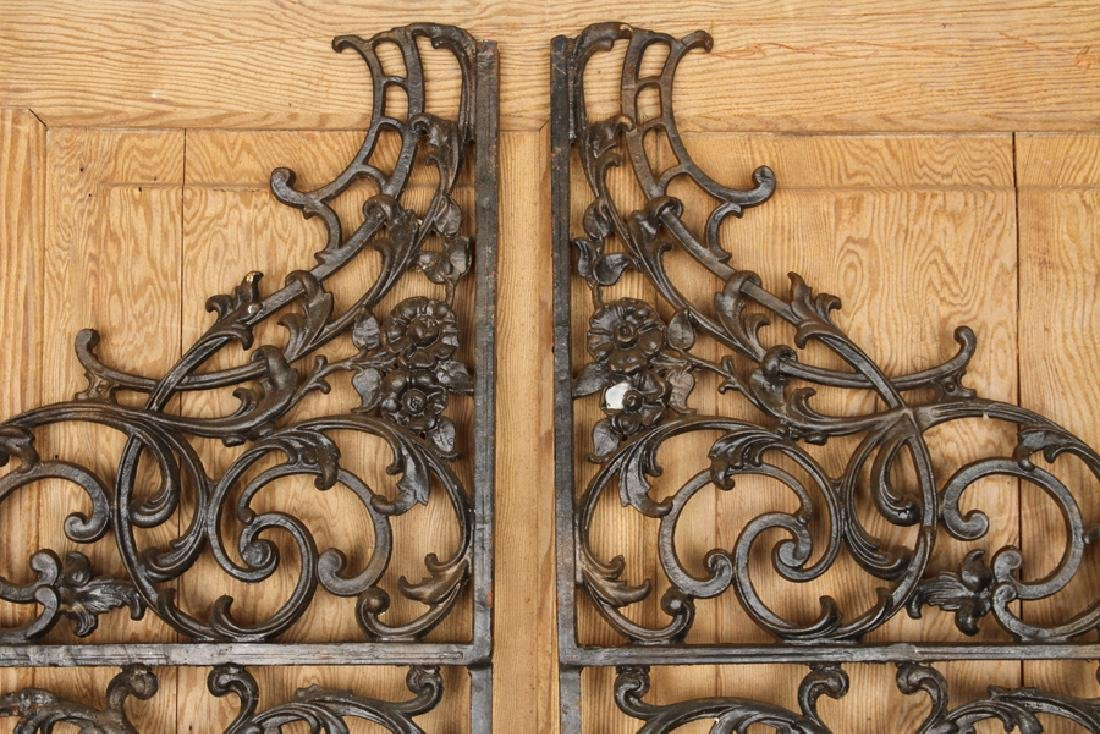 PAIR CAST IRON PEDESTRIAN GATES SWIRL FORM DETAIL - 2